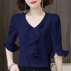 In the Mood - Elbow-Sleeve Ruffle Blouse