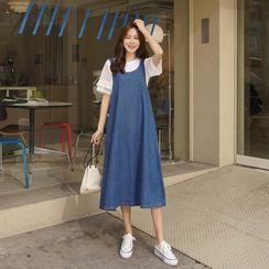 CLICK - Tie-Back Denim A-Line Jumper Dress