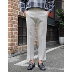 GERIO - Band-Waist Straight-Cut Dress Pants