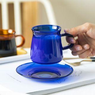 Modern Wife - Set :  Glass Drinking Cup + Saucer