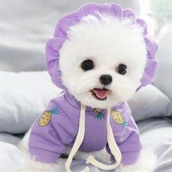 Bixin - 菠萝印花连帽宠物上衣