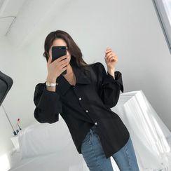 DABAGIRL - Puff-Shoulder Chelsea-Collar Shirt