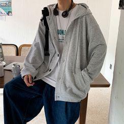 emeisa - Plain Hooded Buttoned Jacket
