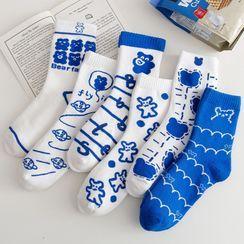 Nikkocampus - Set Of 3 Pairs: Teddy Bear Socks