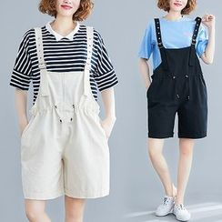 Inkblot - Wide-Leg Dungaree Shorts