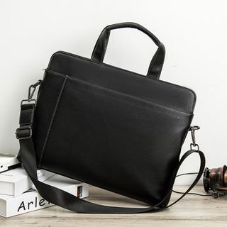 BagBuzz - Faux Leather Briefcase With Shoulder Strap