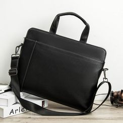 BagBuzz(バッグバズ) - Faux Leather Briefcase With Shoulder Strap