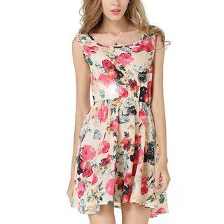 LIVA GIRL - Floral Print Sleeveless Chiffon Dress