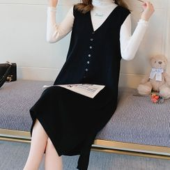 EZ Life - Maternity Long-Sleeve Knit Top / Sleeveless Midi A-Line Pinafore Dress