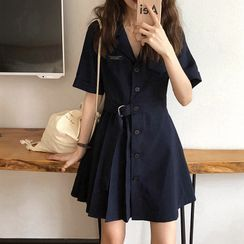 Apotheosis - Short-Sleeve Pleated Mini A-Line Shirtdress