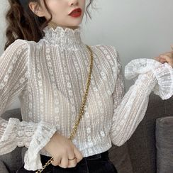 MIKIGA - 字母印花套衫 / 半高领蕾丝长袖上衣