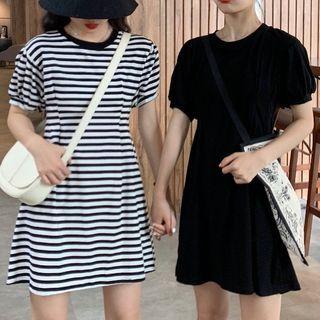 Shinsei(シンセイ) - Puff-Sleeve Mini A-Line Dress