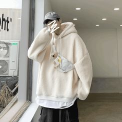 emeisa - Set: Mock Two-Piece Fleece Hoodie + Teddy Bear Waist Bag