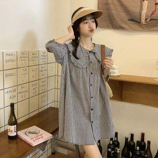 Concerindo - Elbow-Sleeve Collar Mini A-Line Dress