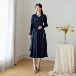 CHICLINE - V-Neck Pleated Wrap Dress