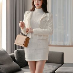 Dimanche - Tweed Jacket / Mini Fitted Skirt / Long-Sleeve Knit Top / Set
