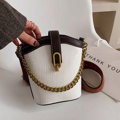 FINO - Croc Grain Faux Leather Bucket Bag
