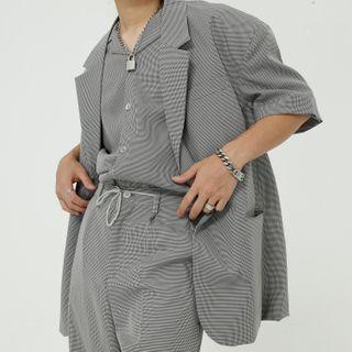 FAERIS - Set: Short-Sleeve Plaid Blazer + Shirt + Pants
