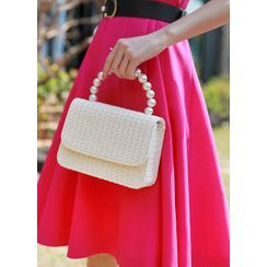 Styleonme - Faux-Pearl Woven Tote Bag