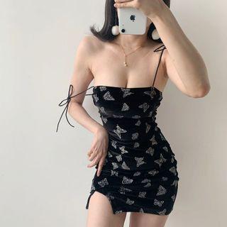 Ohnana - Butterfly Print Spaghetti Strap Bodycon Dress