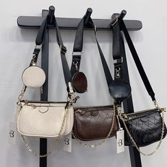 Bibiba - Set of 3: Faux Leather Coin Purse + Chain Strap Hobo Bag + Crossbody Bag