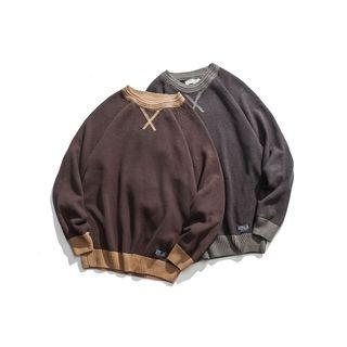 Corrente(コレンテ) - Contrast-Trim Round Neck Sweater