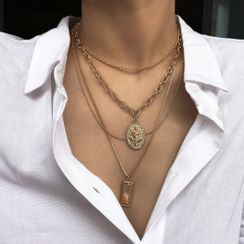 Seirios - Set: Alloy Pendant Necklace + Chunky Chain Choker
