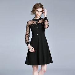 Spirin - Dotted Mesh Sleeve Mini A-Line Dress