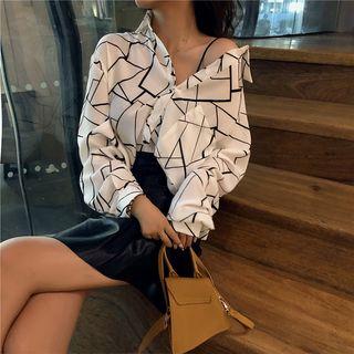 Be Bonita - Long-Sleeve Geometric Pattern Chiffon Blouse
