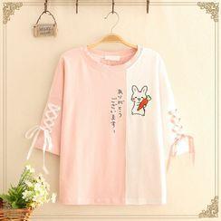 Kawaii Fairyland - 插色小兔印花系带短袖T裇