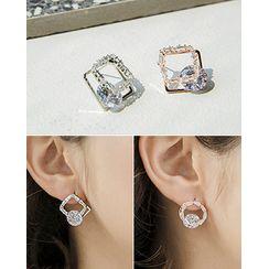 Miss21 Korea - Rhinestone Circle / Square Earrings