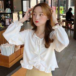 Honey Diary - Frill Trim Drawstring Long-Sleeve Blouse