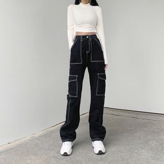 WEEKEND BLOOPERS - Contrast Stitching Straight Leg Jeans