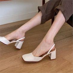 MONOBARBI(モノバービ) - Square-Toe Chunky-Heel Sandals