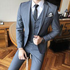 Besto - Set: Button-Up Vest + Blazer + Straight Leg Pants