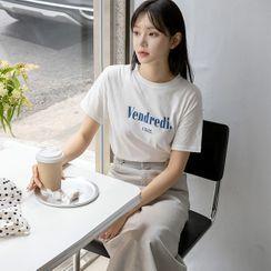 NAIN - Letter-Printed Cotton T-Shirt