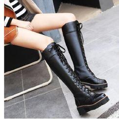 Freesia - 仿皮系带高身靴