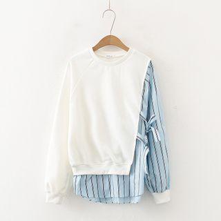 TOJI - 條紋拼接捆綁帶套衫