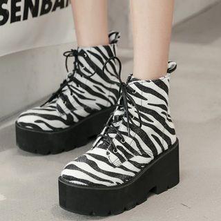 安若 - 厚底豹纹印花短靴