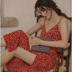 Verona Sing - Flower Print Spaghetti Strap Midi A-Line Dress