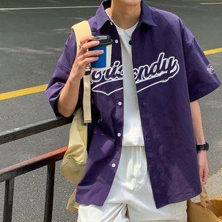 JUN.LEE - Lettering Print Oversized Elbow-Sleeve Shirt