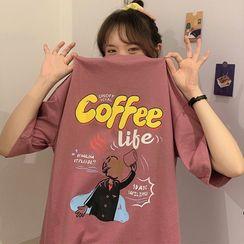 Mushini - Loose-Fit Short Sleeve Printed T-Shirt
