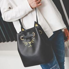 Clair Fashion - 超萌貓臉刺繡皮革側背水桶包