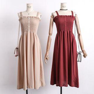 Lemongrass - 木耳邊壓褶抹胸吊帶雪紡連衣裙