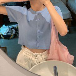 GOUB - Short-Sleeved Cropped Cardigan