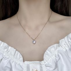 Borscht - Faux Pearl Heart Pendant Necklace