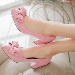 Freesia - 仿麂皮蝴蝶结鞋