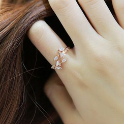 True Glam - Rhinestone Laurel Open Ring