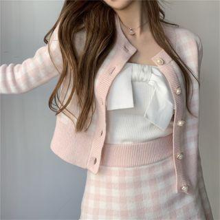 Windflower - 格纹开衫 / 迷你修身针织裙 / 抹胸上衣