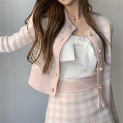 Windflower - Plaid Cardigan / Mini Fitted Knit Skirt / Tube Top
